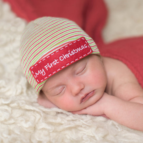 My First Christmas Striped Hospital Hat and Gender Neutral Nursery Beanie - Red, Green, White