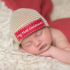 My First Christmas Striped Hospital Hat and Gender Neutral Nursery Beanie - Red, Green, White icon
