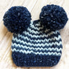 Light and Navy Blue Striped Double Pom Pom KNIT Beanie for Baby Boys