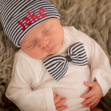 Navy Blue and White Stripe Boys Bow Tie and Beanie SET - Newborn Boy Navy and White Striped Hospital Hat