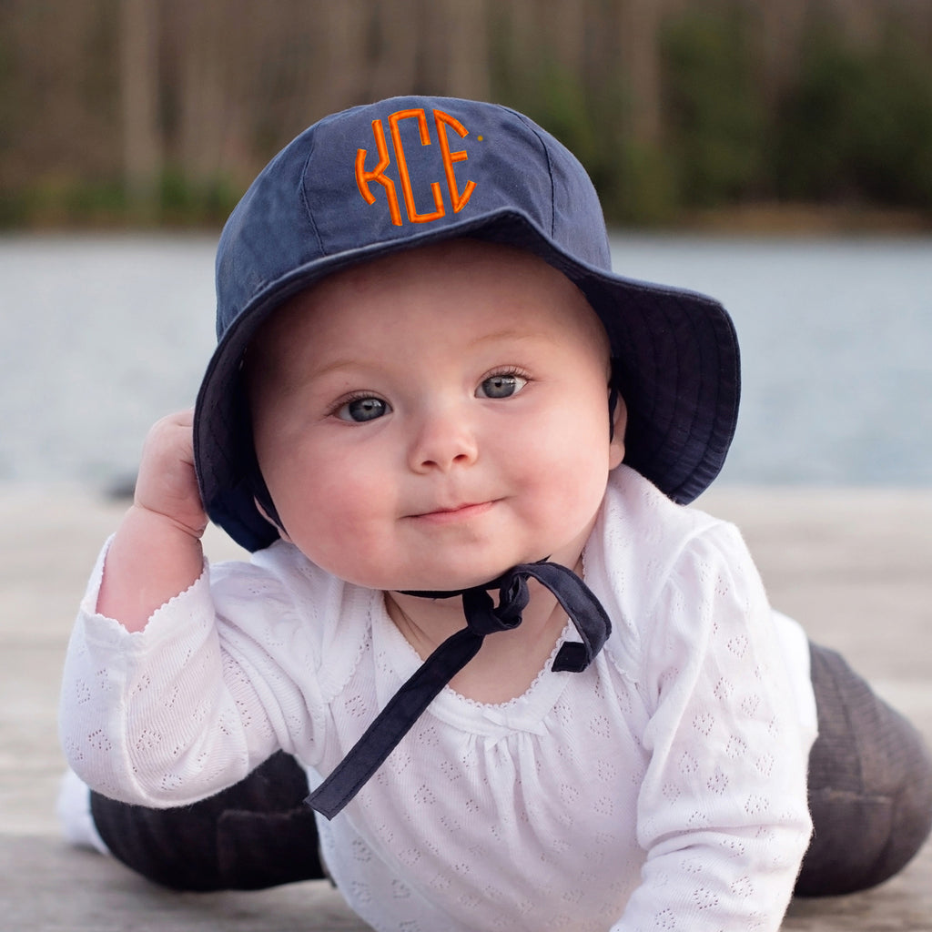 Navy Blue Monogrammed Sun Hat for Baby and Toddler Boys - Choice of thread colors