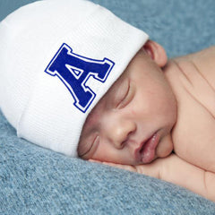 White Hat with Royal Blue Collegiate Letter Initial Newborn Boy Hospital Hat icon