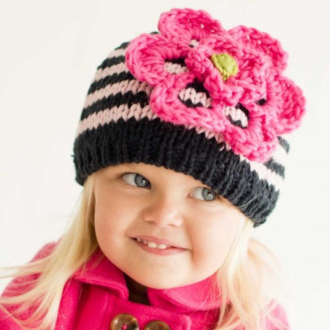 Navy Striped Baby and Toddler Girl Hat With Flower  22301c951f9