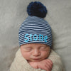 Personalized Navy Blue and White Striped Newborn Boy Hospital Hat with NAVY BLUE Pom Pom
