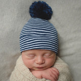 Navy and White Stripe Newborn Boy Hospital Hat with NAVY BLUE Handmade Pom Pom