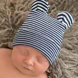 Navy Blue and White Striped Baby Bear Newborn Boy Hospital Hat