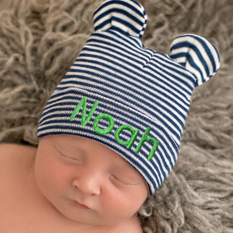 Navy Blue and White Striped Personalized Baby Bear Newborn Boy Hospital Hat