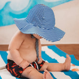 Preppy Blue and White Striped Baby Boy Sun Hat with Wide Brim for Sun Protection- UPF 50