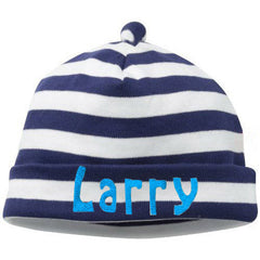 Wide Stripe Navy and White Striped Infant and Newborn Beanie icon