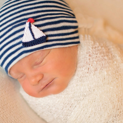 Navy and White Striped Crochet Sailboat Newborn Boy Hospital Hat