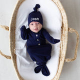 Navy Blue Knot Hat and Knotted Gown SET for Newborn Boys - Personalization Optional