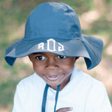 Navy Blue Wide Brim Baby and Toddler Boy Sun Hat with Wide Brim for Sun Protection- UPF 50