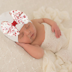 White Candy Cane Dreams Bow Hospital Hat For Newborn Girls - Christmas Babies icon