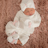 White and Pink Satin Bow Nursery Take Me Home Set for Newborn Girls - 4 piece set, hat, mittens, booties and gown included