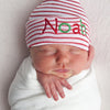 Christmas Striped or Solid Personalized Newborn BOY hospital hat with RED and GREEN Lettering