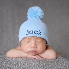PERSONALIZED Baby Blue Pom Pom Newborn Boy Hospital Hat icon 828ccb85c72