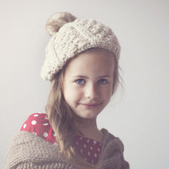 Toddler Girl Beret Oatmeal Hat with Fuzzy Pom Pom icon