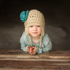 Tan and Turquoise Pretty Aviator Flower Earflap Beanie for Baby and Toddler Girls icon