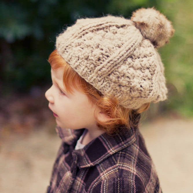 Toddler Girl Beret Oatmeal Hat with Fuzzy Pom Pom