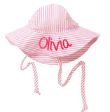 Pink and White Wide Brim Seersucker Baby Sun Hat -PERSONALIZED NAME Option