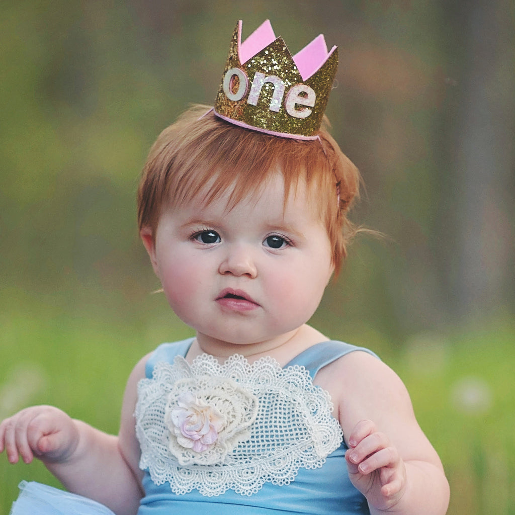 Birthday Crown  Headband for Baby Girl - One, 1,  2 and 3