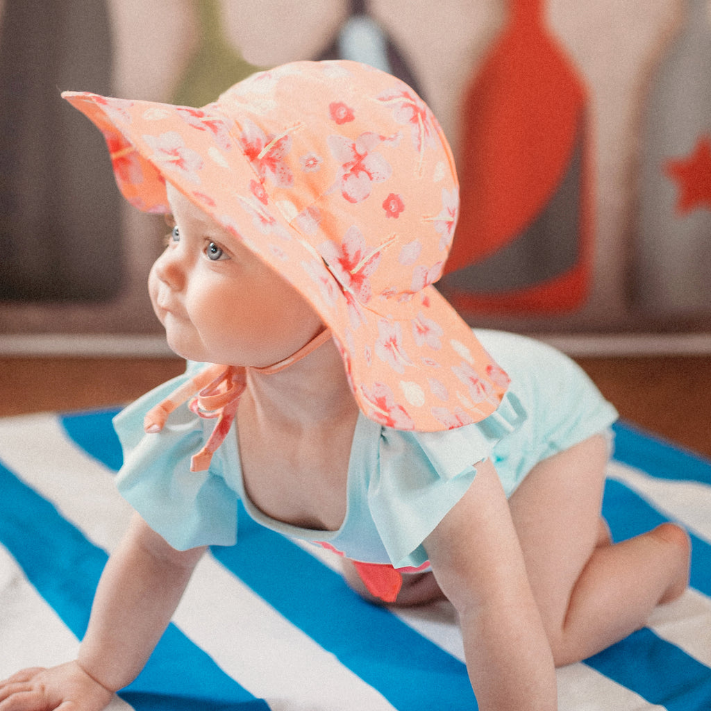 Coral Hibiscus Floral Print Baby and Toddler Sun Hat with Sun Protection