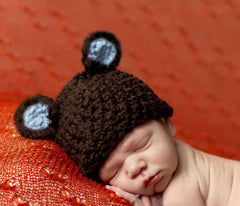 Organic Brown Chunky Sugar Bear Baby Boy Beanie Hat icon