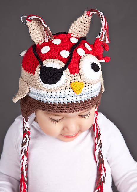 Pirate Patch Owl Baby Boys Hat