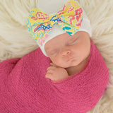Palm Beach Baby Newborn Girl Hospital Hat - White Hat with Fabric Bow
