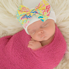 Palm Beach Baby Newborn Girl Hospital Hat - White Hat with Fabric Bow icon