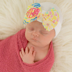 MONOGRAMMED Palm Beach Baby Newborn Girl Hospital Hat - White Hat with Fabric Bow icon