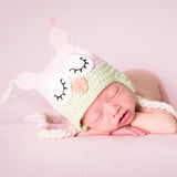 Pretty Pastel Baby Girl Crochet Owl Hat