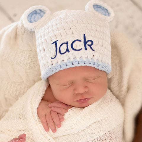 Personalized White Sugar Bear with Blue Trim