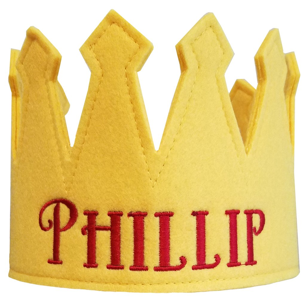 Black Personalized Felt Crown Baby and Toddler Boys