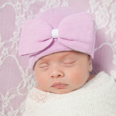 Bitty Big Pink Bow Hospital Hat for Newborn Girls