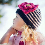 Navy Striped Baby and Toddler Girl Hat With Flower