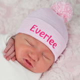 Personalized Striped Pink and White Nursery Hospital Hat with Mixed Pink and White Pom Pom