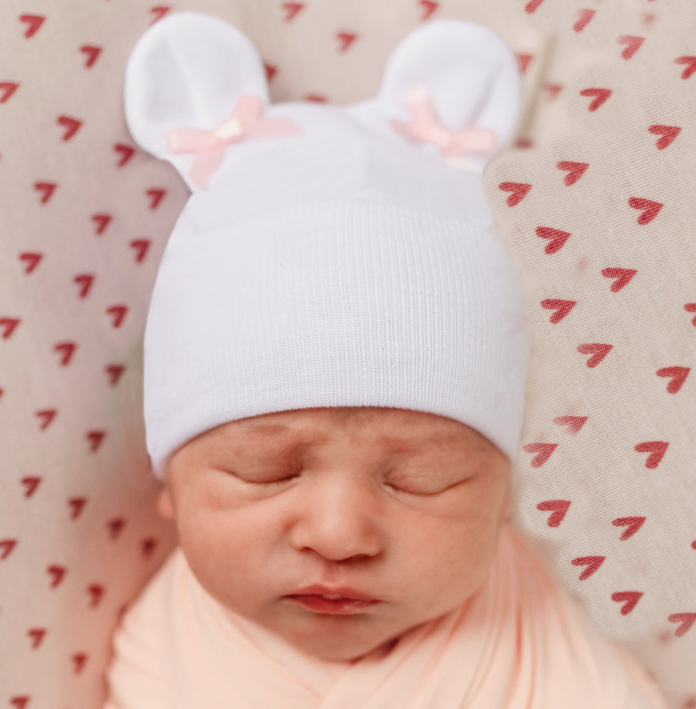 White Bear Ears with Tiny Pink Bows Newborn Girl Hospital Hat