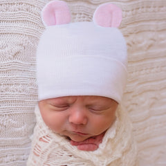 Pink Ears Newborn Boys White Newborn Boy Hospital Hat for Newborns - White Nursery Beanie icon