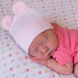 Pink Fuzzy Bear Ear Newborn Girl Hospital Hat for Newborn Girls - Pink Nursery Beanie
