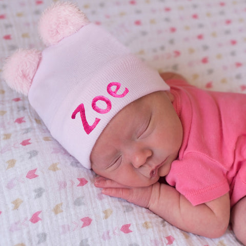 703dcf136bd Personalized Pink Fuzzy Bear Ear Newborn Girl Hospital Hat for ...