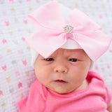 Precious Pink Big Bow with Rhinestone Newborn Girl Hospital Hat - White Hat