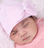 Pink Bow With Ribbon Center Baby Girl Newborn Hospital Hat