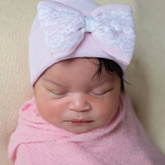 Lace Covered Pink Bow and Pink Newborn Hospital Hat- Nursery Beanie for Girls icon