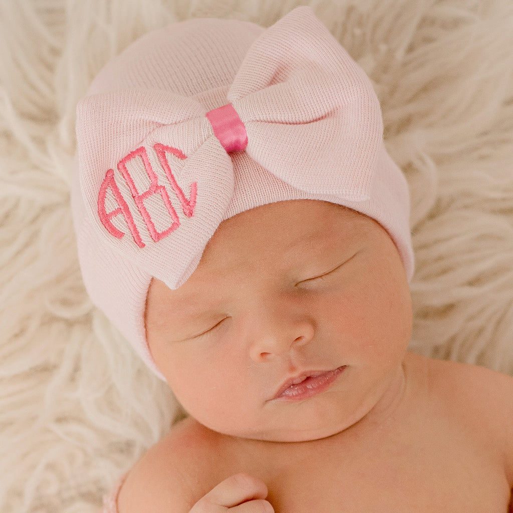 Soft Pink Newborn Girl Hospital Hat Bow with Bright Pink Ribbon and Monogrammed Initials Nursery Newborn GIRL hospital hat