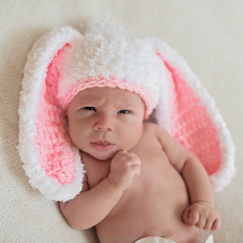 Little Bunny Foo Foo Pink and White Fluffy Bunny Baby Girl Easter Hat