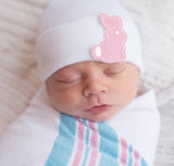 White and Pink Bunny Patch Newborn Girls Hospital Hat
