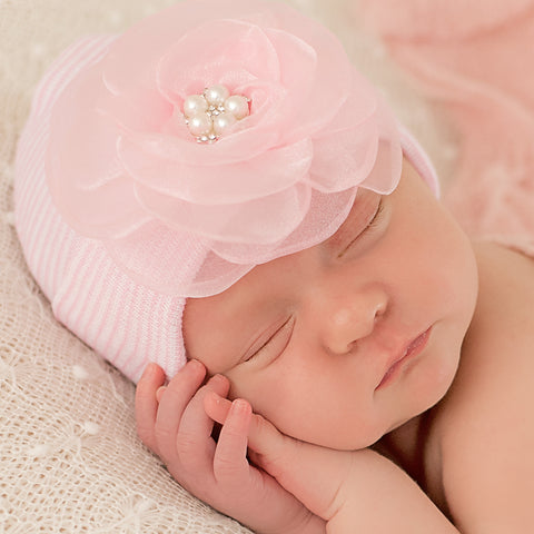 Pink and White Striped Hospital Hat with Pink Layered Chiffon Flower with Pearl Center