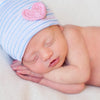 Traditional Nursery Striped Newborn Girl Hospital Hat with Pink Crocheted Heart