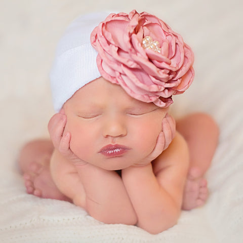 White Hat with Layered Pink (or Purple) Silk Flower with Pearl Rhinestone Center Newborn Girl Hospital Hat